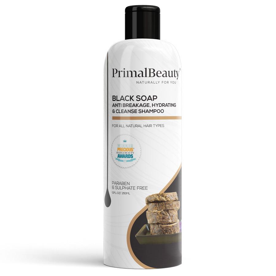 primal beauty black soap hydrating shampoo